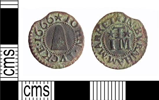 Photograph of 17th century copper alloy farthing token