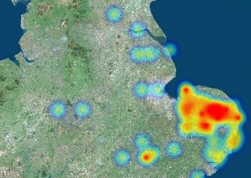 Heat map of the distribution of backwards facing beast brooches in England.