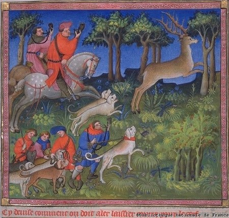 Miniature from the Book of Hunting by Gaston III, Count of Foix