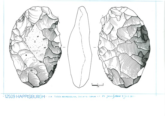 Illustration of one of the Happisburgh handaxes