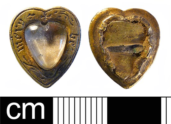 Photograph of medieval to post-medieval silver gilt heart-shaped jewellery