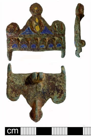Photo of fragment of enamelled Roman chatelelaine plate brooch