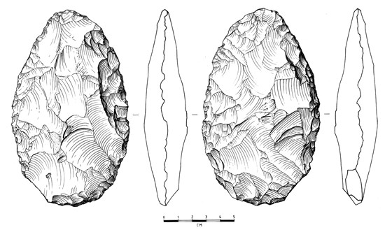 Illustration of hand axe